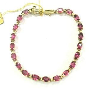 Jewelry - Fine Pink Tourmaline Oval Shape Yellow Gold Tennis